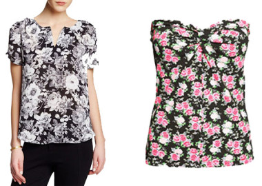 A floral blouse pairs with a black blazer and trousers for work or a brightly colored high-waisted pencil skirt and sky-high heels for the evening.(Photos: Nordstrom Rack/H&M)