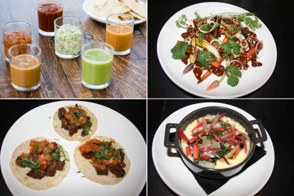 Dishes include six salsas (clockwise from top left); poblano mole with carrots and  parsnips; rainbow chard and cremini mushroom fundido with chihuahua cheese; and skirt steak tacos. (Photos: Mark Heckathorn/DC on Heels)