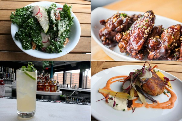 Dishes include the kale and cranberry salad (clockwise from top left), PB&J BBQ wings, salmon cakes and the Kentucky mule. (Photos: Mark Heckathorn/DC on Heels)