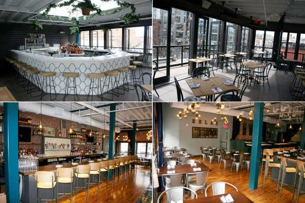 Takoda includes a rooftop bar and dining room (top row) and a main dining room and bar (bottom row). (Photos: Mark Heckathorn/DC on Heels)