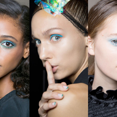 Blue was a popular color choice for makeup artists at fashion week.(Photo: Imaxtree)