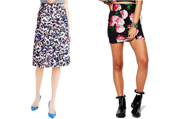 Floral skirts can be worn now with tights and a cardigan or a t-shirt when it gets warmer. (Photos: J. Crew/ASOS)