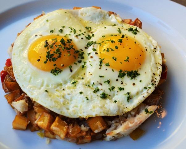 PassionFish in Bethesda and Reston will offer smoked Great Lakes whitefish hash with Yukon gold potatoes and sunny-side up eggs on its Easter brunch menu. (Photo: PassionFish)