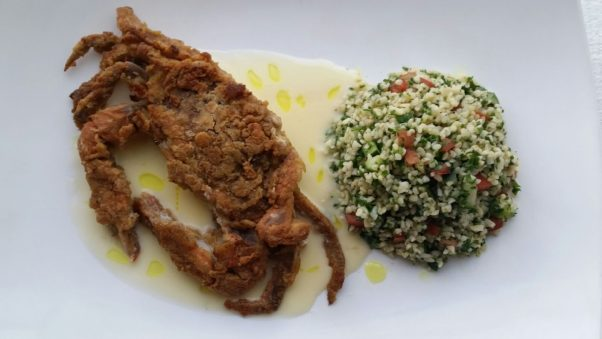 Blackwell Hitch in Old Town is serving soft shell crabs dusted in Old Bay with chyote salad and lime butter sauce. (Photo: Blackwell Hitch)