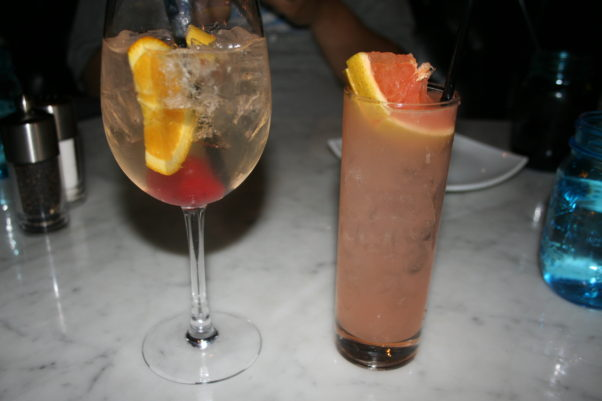 The seasonal sangria (left) and Grapefruit Wine Crush were both light and refreshing. (Photo: Mark Heckathorn/DC on Heels)