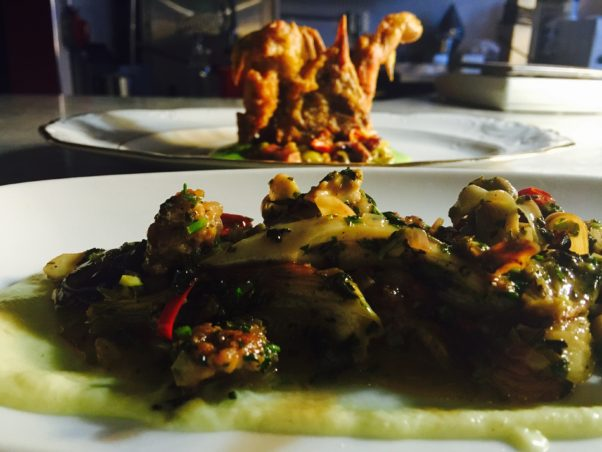 Nonna's Kitchen has a fried soft shell crab with fava beans and pickled ramps. (Photo: Nonna's Kitchen)