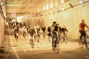 Join D.C. Bike Party for the fourth annual Cherry Blossom Chase and afterparty on Friday. (Photo: D.C. Bike Party/Twitter)