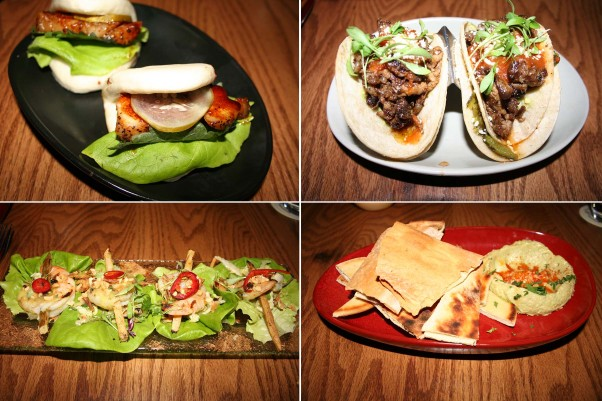 Street food at Palette 22 includes pork belly bao buns (clockwise from top left), tacos vampiros, avocado hummus and Vietnamese-style sugarcane shrimp. (Photos: Mark Heckathorn/DC on Heels)