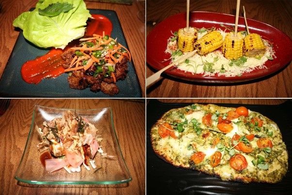 Other small plates include bulgogi (clockwise from top left), grilled sweet corn, caprese flatbread and  takoyaki. (Photos: Mark Heckathorn/DC on Heels)
