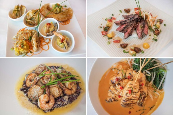 Dishes include the assorted dumpling sampler (clockwise from top left), crying tiger steak, Panang curry and scallop and shrimp risotto. (Photos: Maria Bryk Photography)