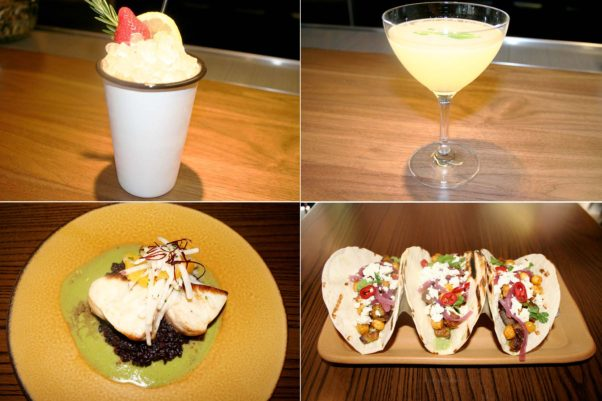 Cocktails and dishes include the Big Boy Pants (clockwise from top left), Barr Knees, lamb belly tacos and rockfish. (Photos: Mark Heckathorn/DC on Heels)