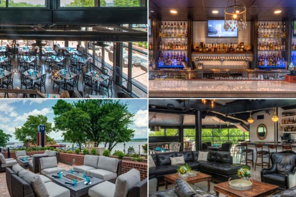 The interior of Blackwall Hitch is shabby chic with a nautical touch. (Photos: Fredde Lieberman)  Clockwise, from top left, is the main dining  room, main bar, The Crows Nest and the back patio. (Photos: Fredde LIeberman)
