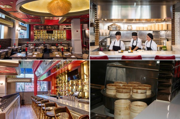 Bangkok Joe's dining room (clockwise from top left), new dumpling bar, dumpling steamers and cocktail bar got a facelift for its re-opening. (Photos: Mark Heckathorn/DC on Heels and Maria Bryk Photography)