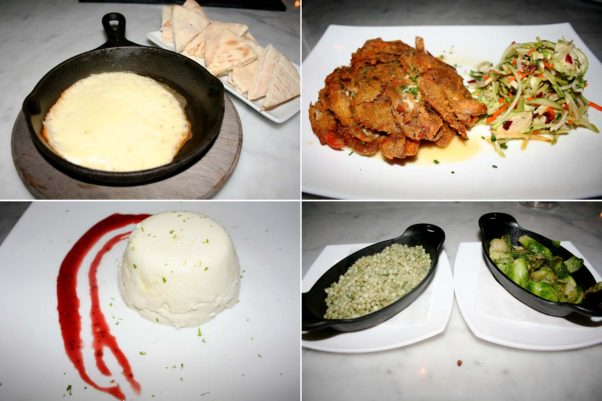 Other dishes at Blackwall Hitch include  flaming saganaki (clockwise from top left), soft shell crabs,  herb pearl couscous and roasted Brussels sprouts, and Key Lime panna cotta. (Photos: Mark Heckathorn/DC on Heels)