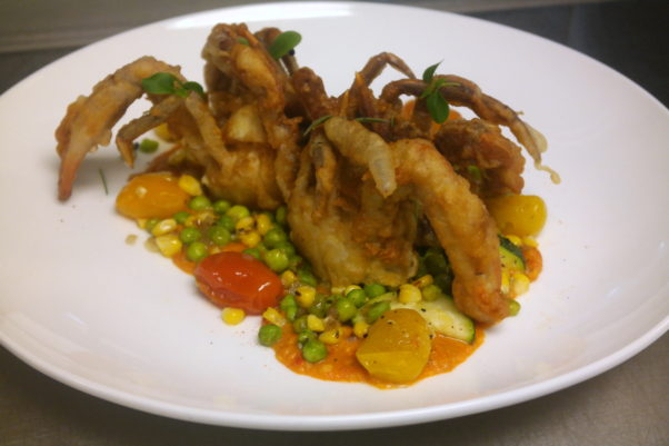 All Set Restaurant & Bar is is serving tempura fried soft shell crab over a spring vegetable medley with Old Bay romesco. (Photo: All Set Restaurant & Bar)