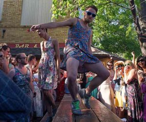 Contestants vie for the title of Mr. Sundress Fest at last year's Sundress Festival. (Photo: Brightest Young Things)