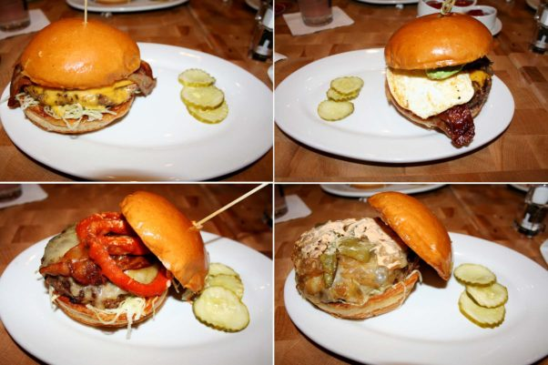 Burgers include the Sam burger (clockwise from top left), the breakfast burger, El Diablo and the Ringer with Frank's Red Hot. (Photos: Mark Heckathorn/DC on Heels)