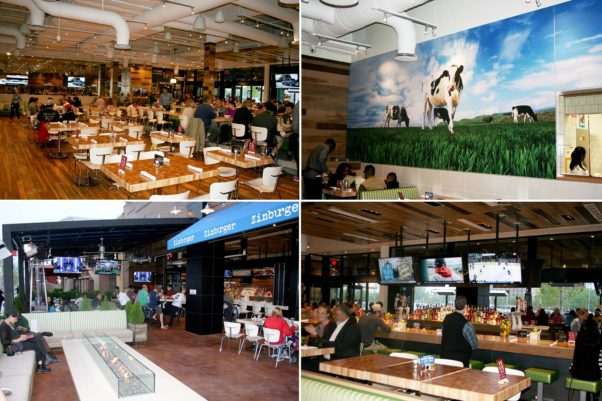 Zinburger in the Springfield Town Center includes a large dining room (clockwise from top left), larger-than-life cow mural, bar and outdoor patio with a fire pit. (Photos: Mark Heckathorn/DC on Heels)