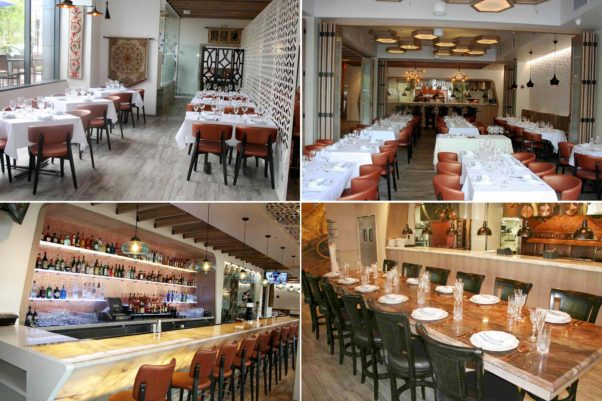 Ottoman Taverna features a main dining room (clockwise from top left), three other dining rooms that can be separated by folding doors, the Sultan's Table and the bar. (Photos: Mark Heckathorn/DC on Heels)