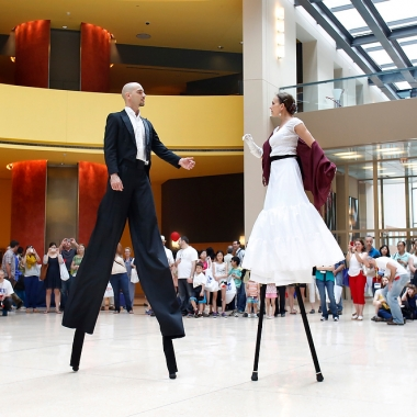 Dancers on stilts perform at the Italian Embassy during the EU embassies open house day in 2014. (Photo: Yuri Gripas)