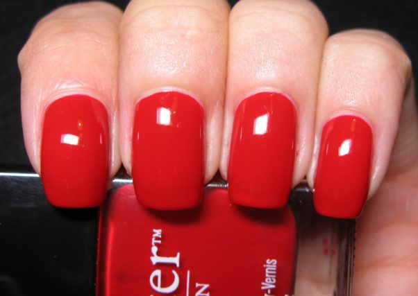 Try a bright red polish, like this one from Butter London. (Photo: polishedcasual.blogspot.com)