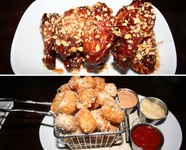 Takoda serves American classics with a twist like PB&J BBQ wings (top) and rosemary and parmesan tots. (Photos: Mark Heckathorn/DC on Heels)