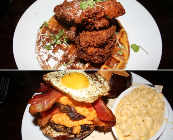 Chef Brown's  entrées include chicken and sweet potato waffle and the Takoda bacon burger with bacon three ways. (Photos: Mark Heckathorn/DC on Heels)