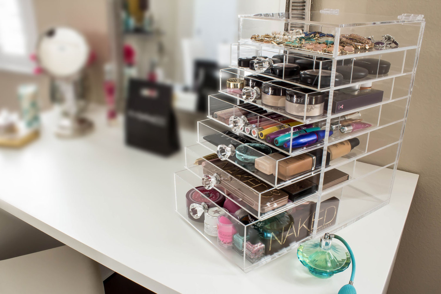 De clutter with these storage solutions dc on heels use a makeup organizer to make your vanity look more put together photo watchthetrailerfo