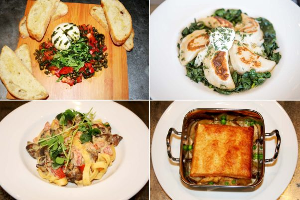 The menu include vegan fare such as burrata (clockwise from top left), pierogis, truffled pot pie and fettuccini mushroom scampi. (Photos: Mark Heckathorn/DC on Heels)