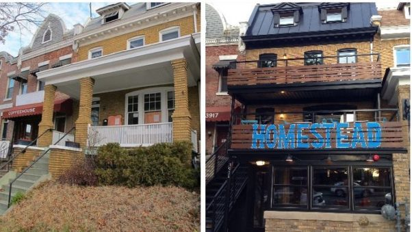 Homestead, which converted a Petworth rowhouse (left) into a restaurant, opened Thursday. (Photo: Homestead/Facebook)