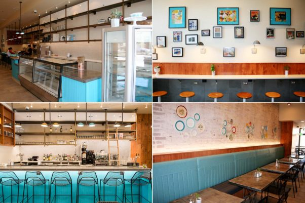 Inside Fare Well has the look of a mid-century American diner throughout the bakery case (clockwise from top left), grab-and-go counter, dining room and bar. (Photos: Mark Heckathorn/DC on Heels)