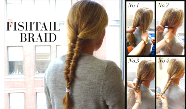 Fishtail braids only take a few steps and create a unique look. (Photo: Sears)