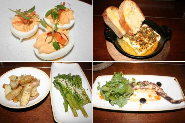 Nibbles include deviled eggs (clockwise from top left) while starters include baked feta and charred octopus, while sides include crispy fingerling potatoes and charred broccolini. (Photos: Mark Heckathorn/DC on Heels)