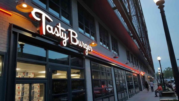 The Boston-based Tasty Burger opens in Shaw's Atlantic Plumbing building on Thursday. (Photo: Tasty Burger)
