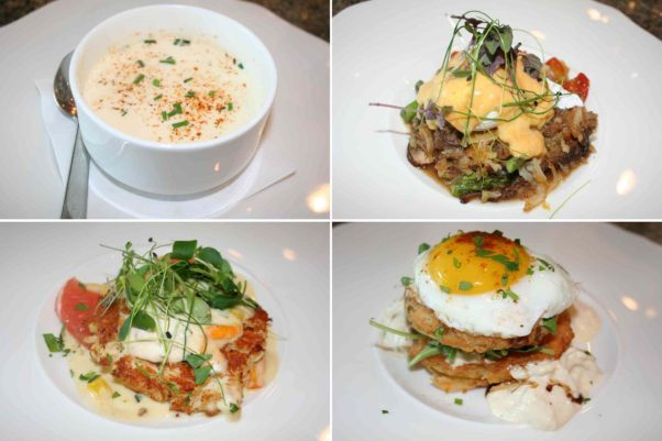 The new tapas brunch at 14K includes blue crab bisque (clockwise from top left), short rib benedict, Southern fried green tomatoes & crab infused Napoleon, and a crab cake. (Photos: Mark Heckathorn/DC on Heels)