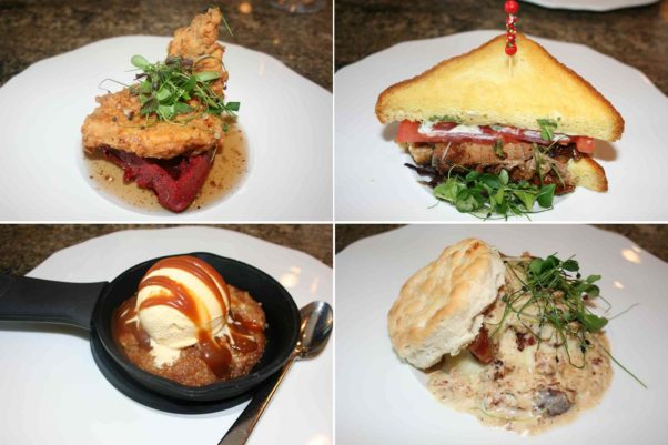 Other brunch tapas include red velvet waffle and chicken (clockwise from top left), pickled Fresno pork belly sandwich, all-American biscuit and a skillet cookie. (Photos: Mark Heckathorn/DC on Heels)