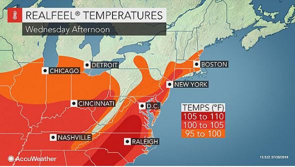 Temperatures are supposed to be in the upper-90s and mid-100s on Wednesday in the DMV. (Graphic: AccuWeather)