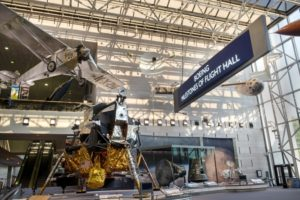 "The Apollo Lunar Module displayed as a centerpiece below the ""Spirit of St. Louis"" in the newly renovated Milestones of Flight Hall. (Photo: Mark Avino/National Air and Space Museum)"