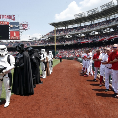 Star Wars characters in costume stand with the Washington Nationals after the national anthem on Star Wars day last year. (Photo: Alex Brandon/AP)