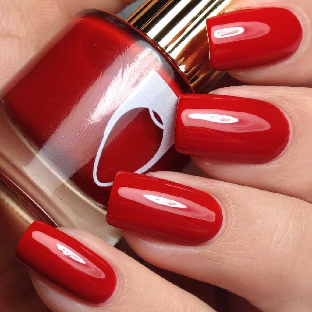 Floss Gloss' Gangsta Boo is a dark red like on a candy cane. (Photo: Whats Up Nails)