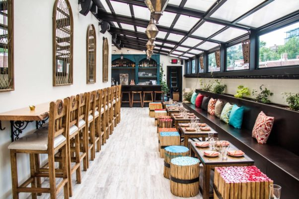 Sakerum, which opens on 14th St. NW on Monday, has a 90-person lounge with a retractable roof on the second floor. (Photo: Farrah Skeiky)