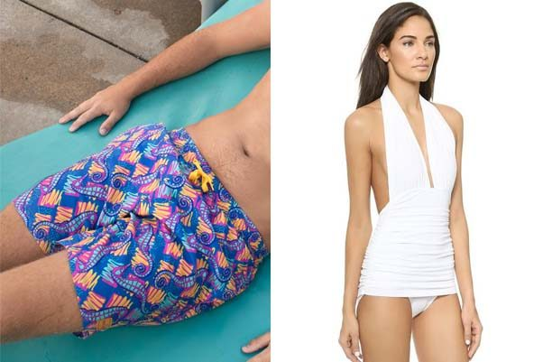 Men's suits can be whimsical like The Sea Stallion from Tipsy Elf (left), but full-sized, while women can be a bit more revealing in one like this Bill Halter one piece by Norma Kamali. (Photos: Tipsy Elf/Norma Kamali)
