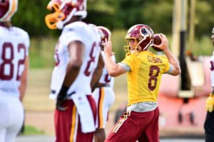 Quarterback Kirk Cousins practices last week's for Saturday's preseason game against the New York Jets on Saturday. (Photo: Washington Redskins)