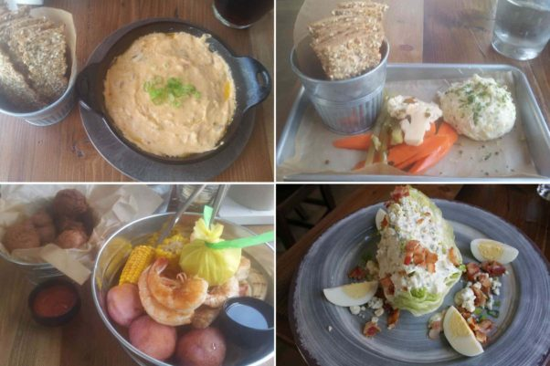 The seafood-heavy menu includes pimento cheese-crab dip (clockwise from top left), smoked fish dip with pickled vegetables, a wedge salad and the Carolina Low Country Boil with jumbo shrimp, smoked kielbasa, sweet onions, corn on the cob, lemon and red potatoes. (Photos: Mark Heckathorn/DC on Heels)