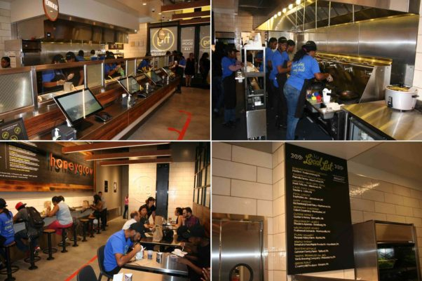 Honeygrow in Pentagon City features touchscreen ordering (clockwise from top left), an open kitchen, a list of local suppliers and a 24-seat dining room. (Photos: Mark Heckathorn/DC on Heels)