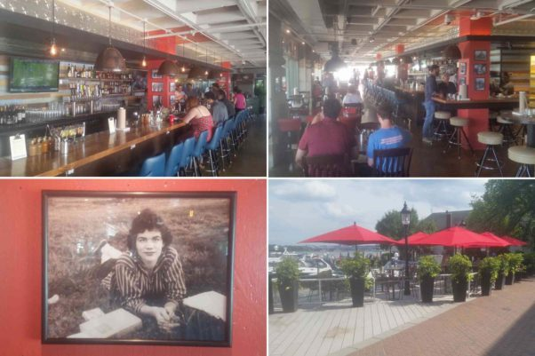 Vola's Dockside Grill features a 20-seat bar (clockwise from top left), 75-seat dining room, a 75-seat waterfront patio and photos of namesake Vola Lawson. (Photos: Mark Heckathorn/DC on Heels)