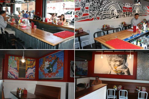 "Tasty Burger in Shaw features a 20-seat indoor/outdoor bar (clockwise from top right), a custom mural featuring the Metro and Duke Ellington, a portrait of Samuel L. Jackson eating a tasty burger in ""Pulp Fiction"" and photographs of local graffiti and landmarks. (Photos: Mark Heckathron/DC on Heels)"