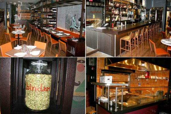 Bindaas has a small dining room (clockwise from top left), nine-seat bar, exhibition kitchen and jars filled with spices. (Photos: Mark Heckathorn/DC on Heels)
