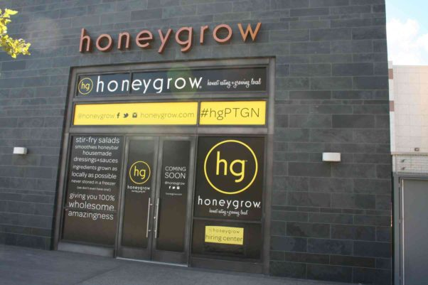 Honeygrow, the fast-casual stir-fry and salad restaurant, opens today in the addition to the Fashion Centre at Pentagon City. (Photo: Mark Heckathorn/DC on Heels)