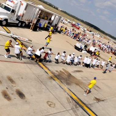 Teams of 25 will compete to see which can pull an 82-ton airplane 12 feet the fasted at the Dulles Day Plane Pull. (Photo: Dulles Day Plane Pull)